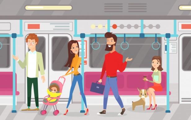 ilustracao-de-pessoas-no-metro-trem-subterraneo-interior-do-metro-com-pendulares-passageiros-mulheres-sentadas-e-conversando-em-pe-mulher-e-homem-com-crianca-em-estilo-
